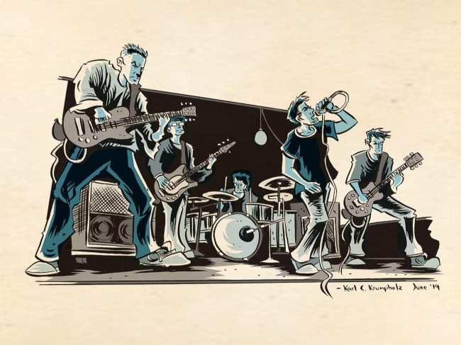 Cartoon of the band